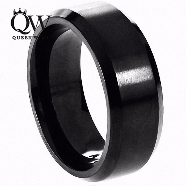 Queenwish Vintage Brushed Matte Black Tungsten Carbide Rings Matching Wedding Fashion Jewelry Brand