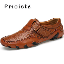 купить Plus size 45/46/47 men's shoes made of split leather hook & loop designer non-slip casual driving shoes men non-slip дешево