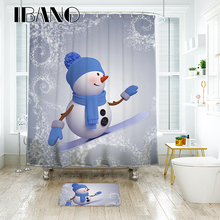 IBANO Snowman Shower Curtain Festival Waterproof Polyester Fabric Bath Curtain For The Bathroom Decrotation For The Christmas