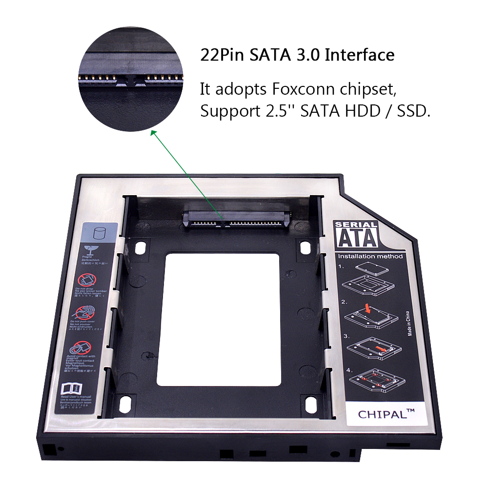 Chipal Universal 2nd Hdd Caddy 127mm 25 Sata 30 Ssd Case Hard Zte Gpon Disk Drive Enclosure With Led Indicator For Laptop Cd Dvd Rom In From