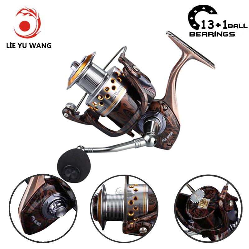 LIEYUWANG 13 + 1BB Ložiskové koule Spinning cívka 5.2: 1 Převodový poměr levý / pravý rybářský naviják Metal Spool Spinning Fishing Wheel