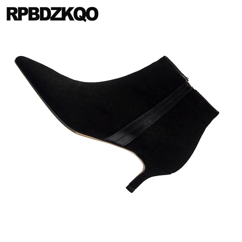 Pointu Hiver Chaussures camel Taille En Stiletto Véritable Bottes Zip Nouveau Grande Côté Talons 9 Bout Cuir Noir Main Femmes Fourrure Hauts Noir gris À Chaussons Daim ZpRtH