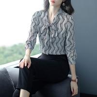Blouse With Bow Long Sleeve Women Chiffon Tops Chiffon Print Womens Blouses Fashion Office Lady Shirt Woman