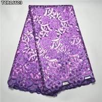 Noble luxury design purple African embroidered organza lace fabric super high quality nigerian sequins organza lace TCR16603