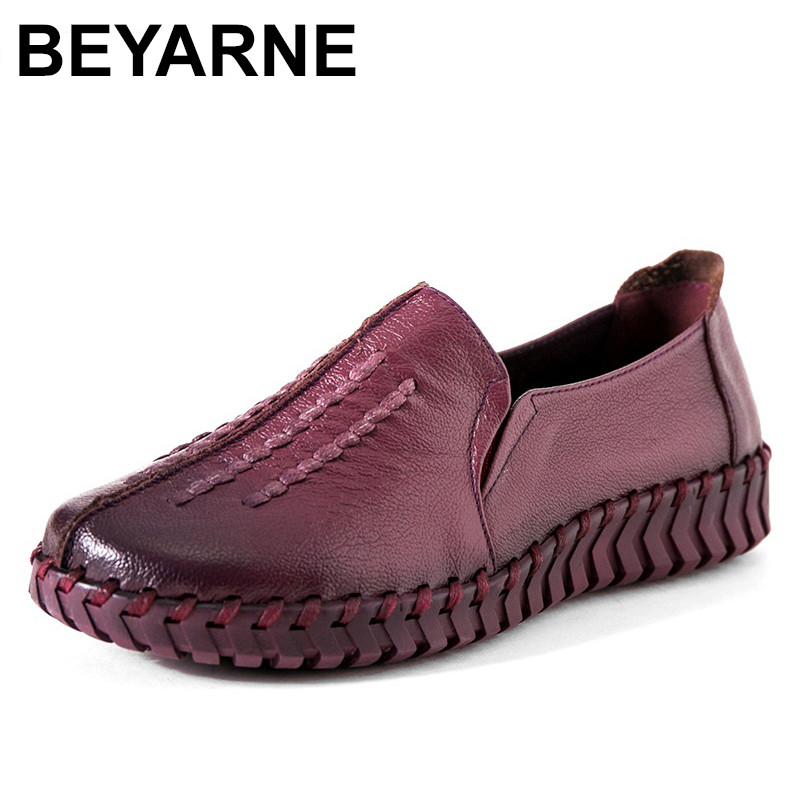 BEYARNE Retro Fashion Genuine Leather Soft Bottom Women Shoes & Flats Handmade Flowers Women Loafers Comfortable Casual Flat designer women flats amry green genuine leather lace up grey flats fashion handmade casual leather shoes soft bottom comfortable