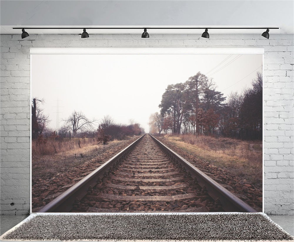 Laeacco Desert Railway Trees Scenic Photography Backgrounds Customized Photographic Backdrops For Photo Studio