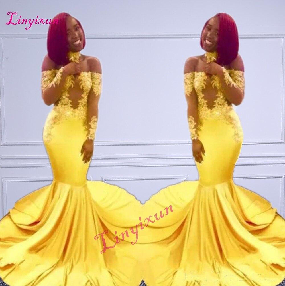 צהוב אלגנטי חדש כבוי כתף תחרת שמלות נשף 2018 פורמליות ארוכה שרוולי בת ים אפליקציות סאטן ערבית שמלות הערב