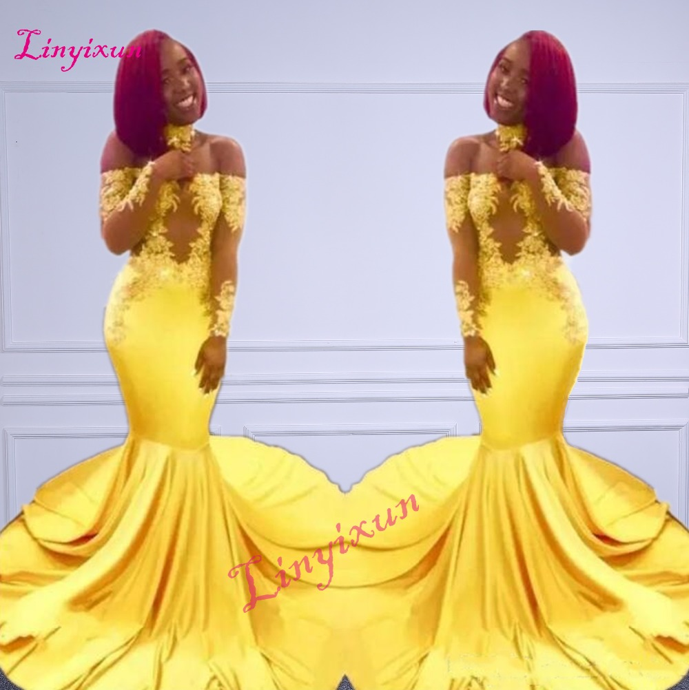 New Elegant Yellow Off the Shoulder Lace Prom Dresses 2018 Formal Long Sleeves Mermaid Appliques Satin Arabic Evening Gowns