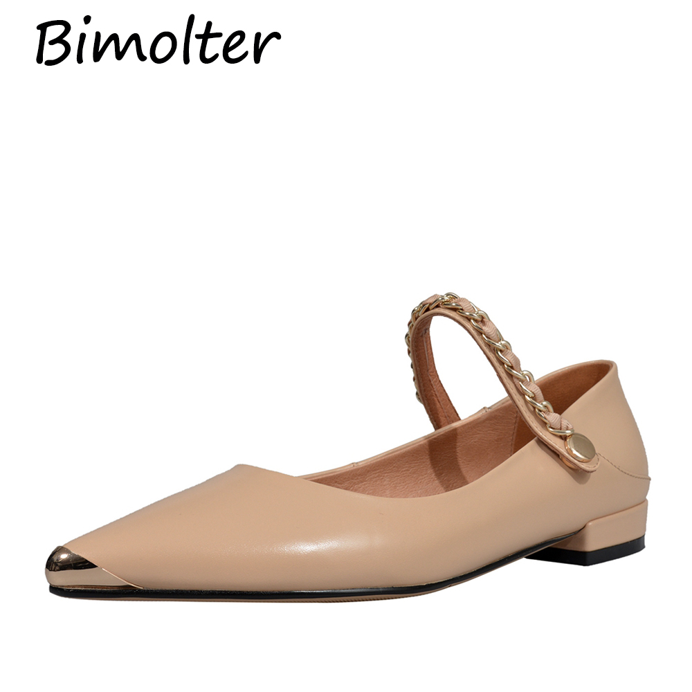 Bimolter New Genuine leather flat shoes women Detachable Bead Matt Sweet Chain Drop Shipping NC010