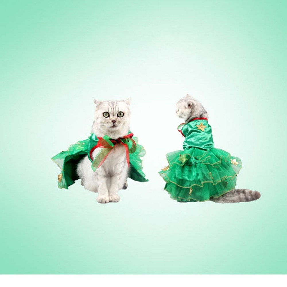 Nobel Pet Cat Costume Christmas Tree Shape Puppy Cat Clothes Dog Windbreaker Costume Suit Dressing up Pet Party Apparel