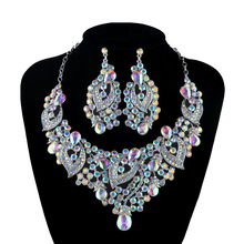 Wholesale wedding jewelry sets crystal AB color Aurora birdal necklace earrings set Luxury rhinestone party prom jewelry present