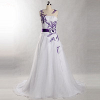 RSW868 Mother Girl Purple And White Organza Wedding Dress Vestido 2 Em 1