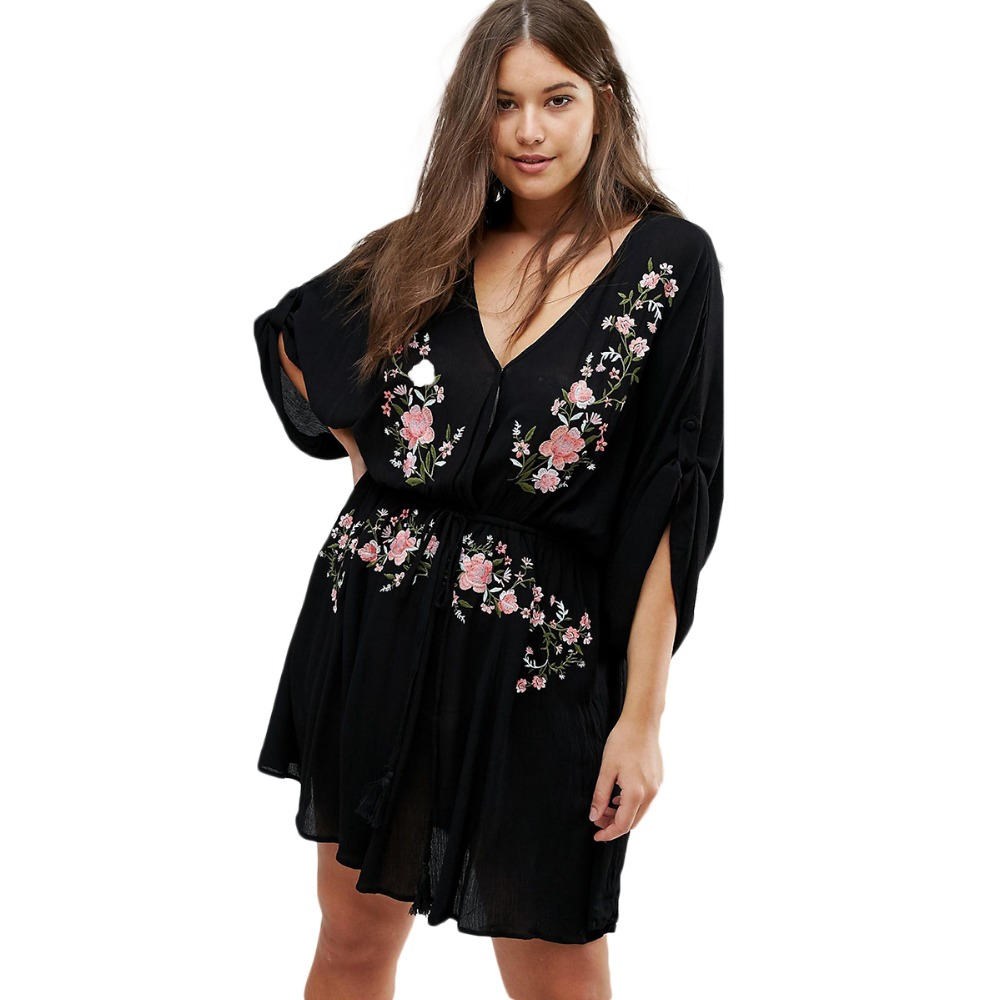 Plus Size Deep V Neck Floral Embroidery Three Quarter Sleeve Dress Women Large Size A-Line Dress Oversize Dress 6XL 7XL plus size floral embroidery dress