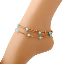 New Fashion Bohemian Turquoise Beads Anklets Multilayer Tassel Ankle Bracelet Foot Jewelry Summer Beach Barefoot Sandals