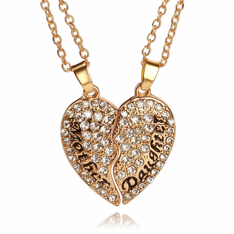 2pcs/set Heart Mother Daughter Cubic Zirconia Necklace Crystal Heart Shaped Pendant Necklace Mothers Day Chrismas Gifts For Mom