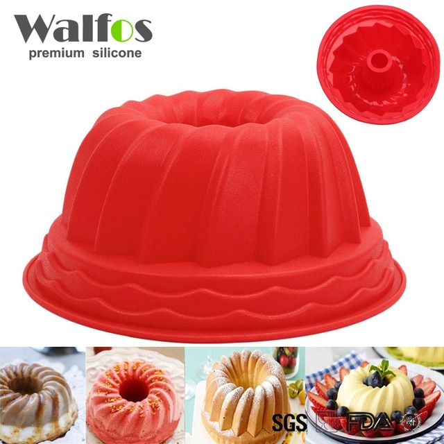 9 inch Large Size Bundt Ring Silicone Bakeware Mould Cake Pan Bread Pastry Tin Baking Mold Tool