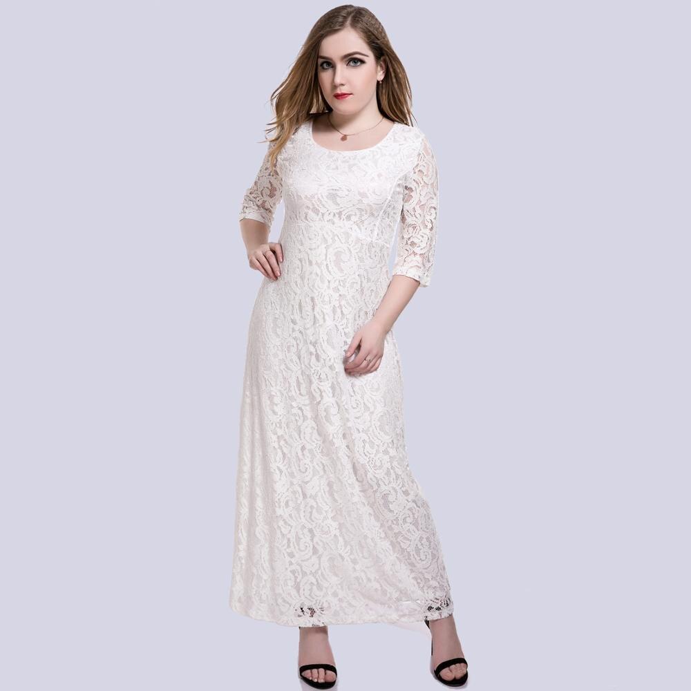 White Lace Maxi Dress 6XL Plus Size Women 5XL Big Size ...