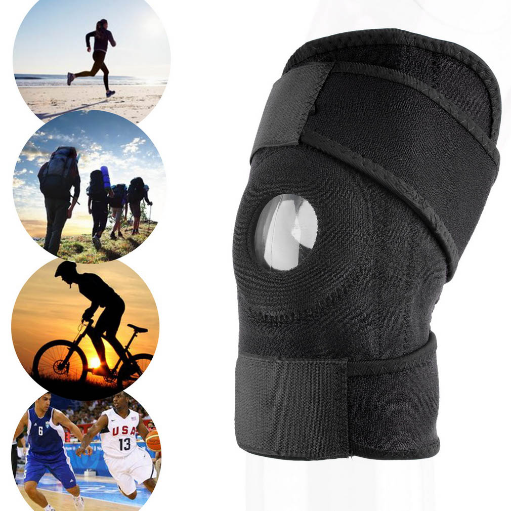 1pc Adjustable Sports Training Elastic Patella Sports Support Brace Patella Knee-pad Hole Safety Guard Strap Safety Knee