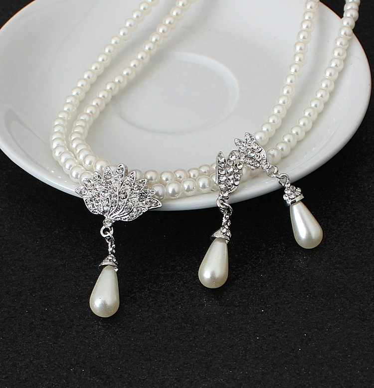 Women's Hot Sale Fashion Water Drop Pearl Pendants Necklace And Drop Earring For Women Crystal Set Bridal Wedding Jewelry Sets
