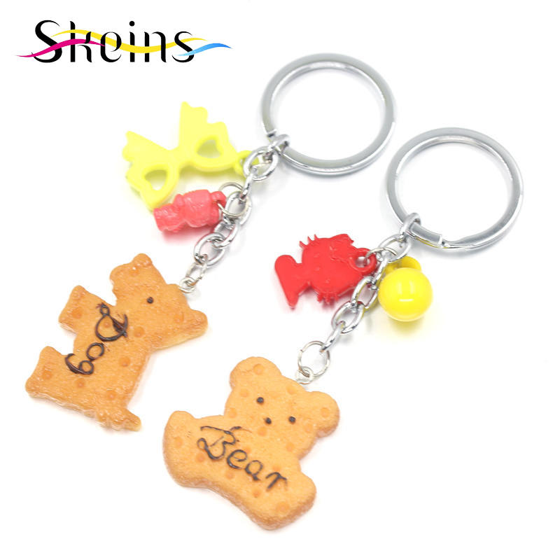 Skeins Jewelry <font><b>Phone</b></font> Cases Accessories Charms Cartoon Dog And <font><b>Bear</b></font> Biscuits Keychain Jewelry Women And Kids Bag Accessories