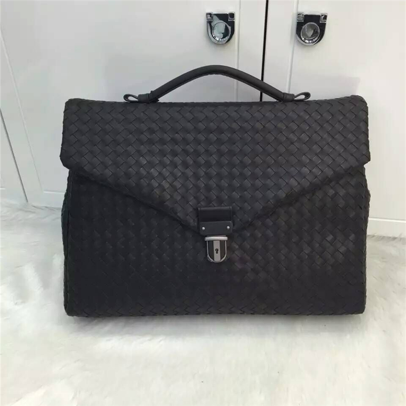 ISHARES New men calfskin weave briefcase genuine leather large capacity  briefcases for male casual bag cowhide f60eb19d09