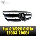 Mercedes W220 ABS Corrida Grille Grills Malha do Amortecedor Dianteiro Para O Benz Classe S W220 S500 2003 2004 2005 Preto/Prata Frente grade