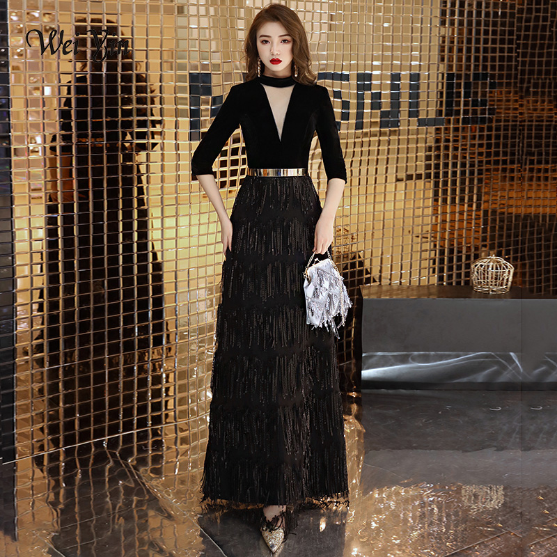 weiyin Black Elegant Velvet Long Evening Dresses A-line Sexy High Neck Long Evening Dresses 2019 Formal Gowns WY1321