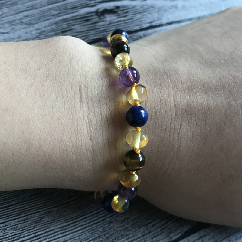 HTB1NUfjeRLN8KJjSZPhq6A.spXan Yoowei 9 Color Baby Amber Bracelet/Necklace Natural Amethyst Gems Adult Baby Teething Necklace Baltic Amber Jewelry Wholesale