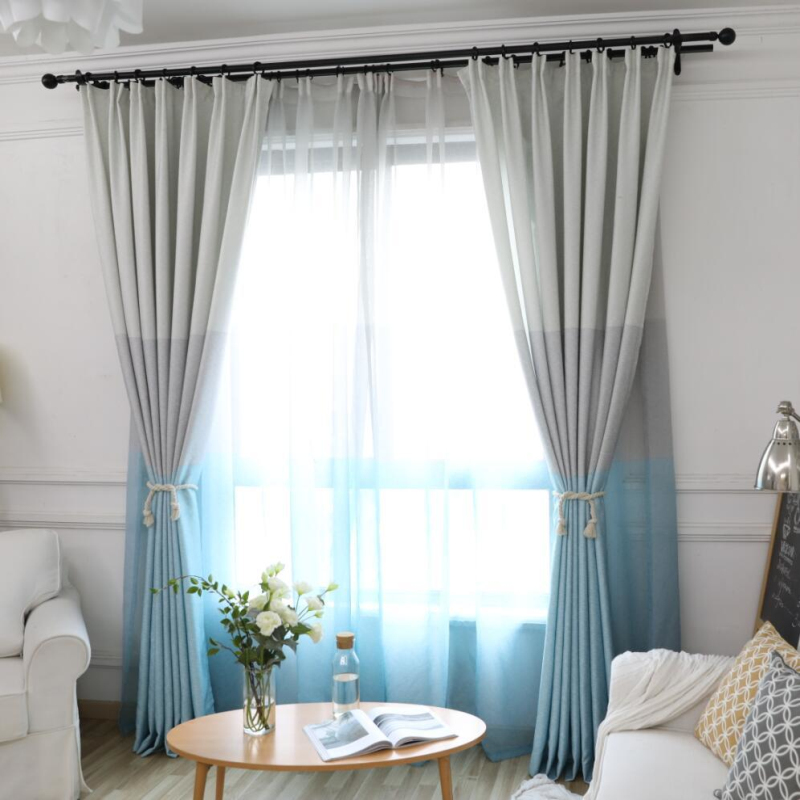 Simple Modern Stitching Curtain for Living Room Blue ...