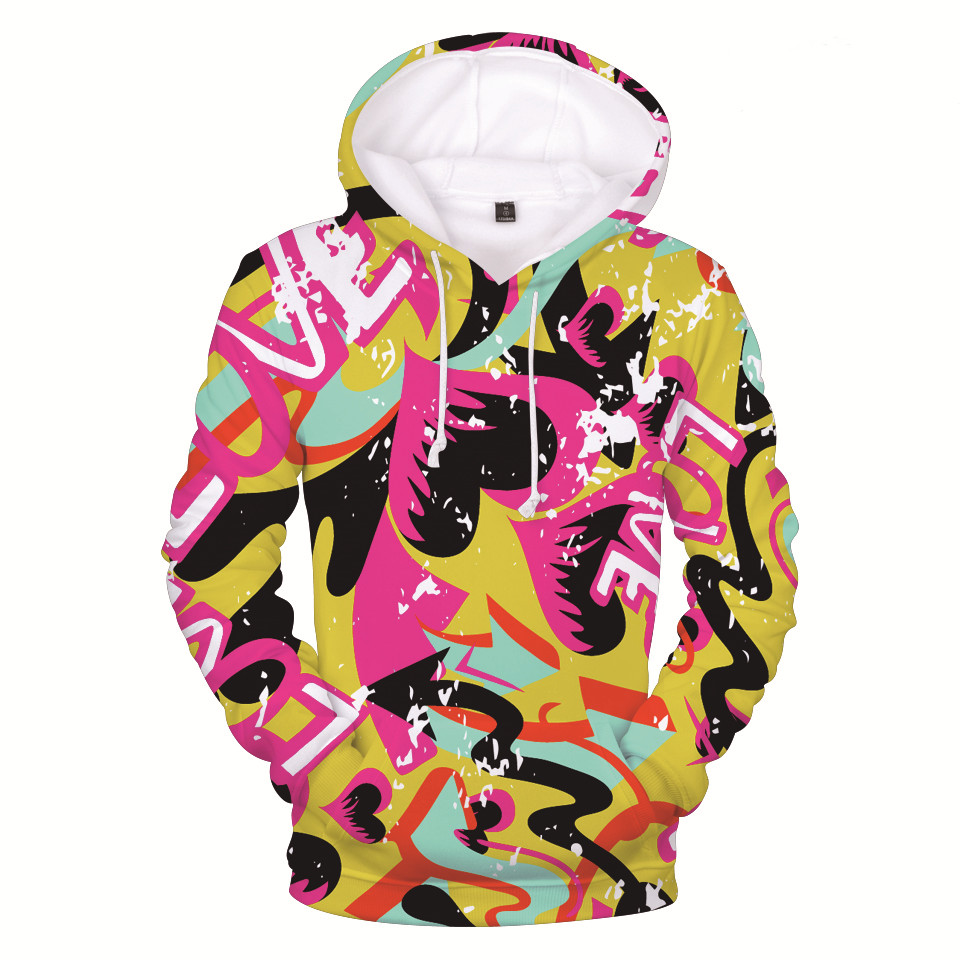 Brand Sweatshirt Men/Women Hoodies Fashion 3D Printed Colorful Graffiti Mens Pullover Sportswear Tracksuits Casual Hooded Hoody