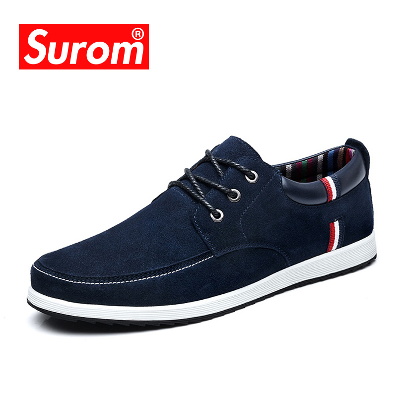 SUROM Men's Boat Shoes Leather Casual Shoes Moccasins Men Loafers Luxury Brand Spring New Fashion Sneakers Suede Krasovki 2017 moccasins men loafers luxury brand flats quality slip on casual shoes bling leather boat shoes souliers zapatillas xk122801