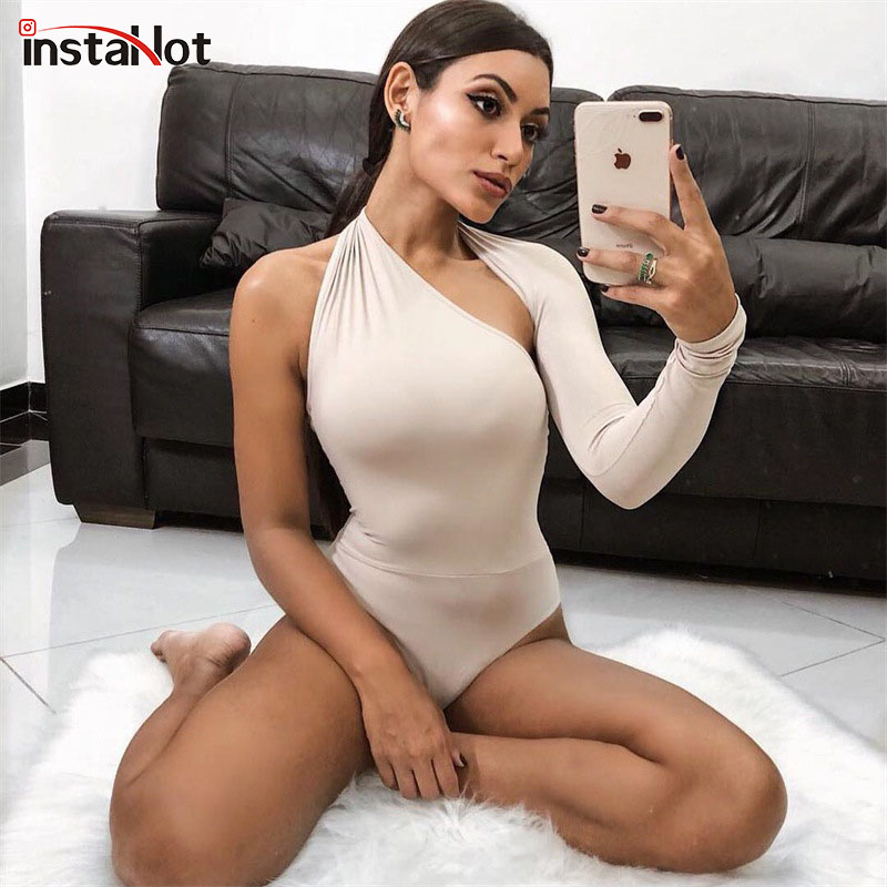 InstaHot 5 Color One Shoulder Sexy Bodysuits Women 2018 Scoop Back Skinny Tight Playsuits One Sleeve Top Button Blouse Beachwear