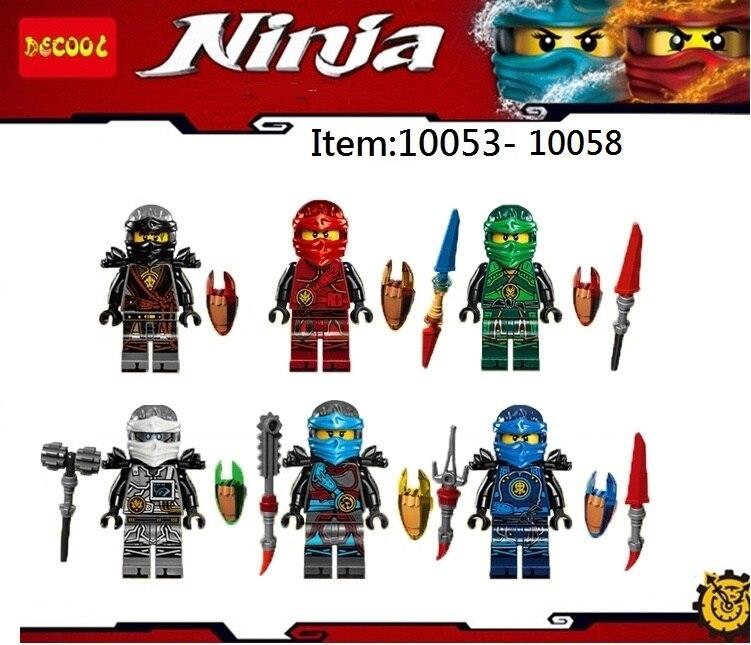 6Pcs/lot DECOOL Mini man Ninja Zane Cole Jay Movie Action Figures Building Toys gifts Fit LEGO LEPIN minifigure LPS Ninjago