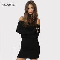 Sexy Pregnant Women Knitted Sweater Dress High Elasticity Slim Backless Mini Dresses T Shirt Off Shoulder