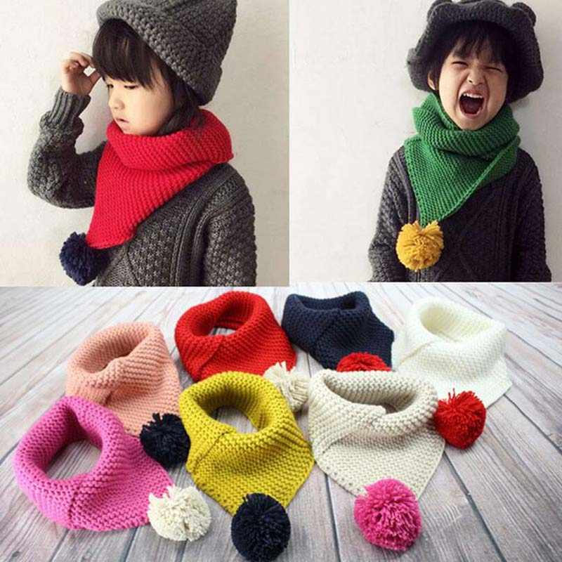Kids Winter Wool Collar Scarf For Children Knitted Collar With Ball Children's Scarves Neckerchief Clothing Accessories