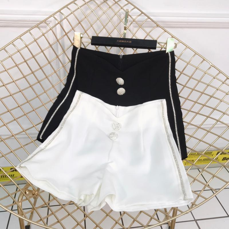 New Fashion Summer Women Rhinestone Button Side Drill Chain Pure Color Shorts Lady Girls High Waist Wide Leg Shorts