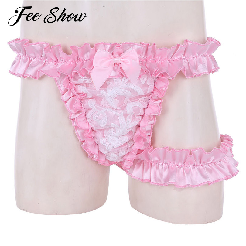 Mens Lingerie Sissy Briefs G-strings Lace Frilly Satin Ruffled High Cut Sissy Knickers G-string Underwear with Thigh Garter Belt