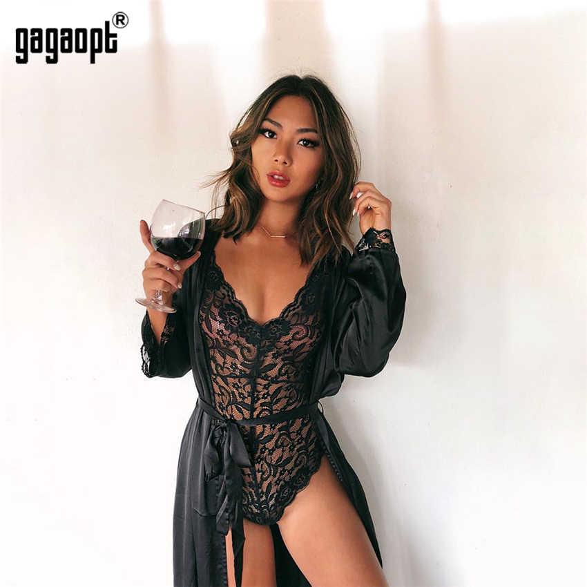 Gagaopt 2018, 4 вида цветов, Кружевное боди для женщин, глубокий v-образный вырез, сексуальный боди, белый/черный, сетчатый боди, клубный комбинезон, комбинезоны, одежда для сна