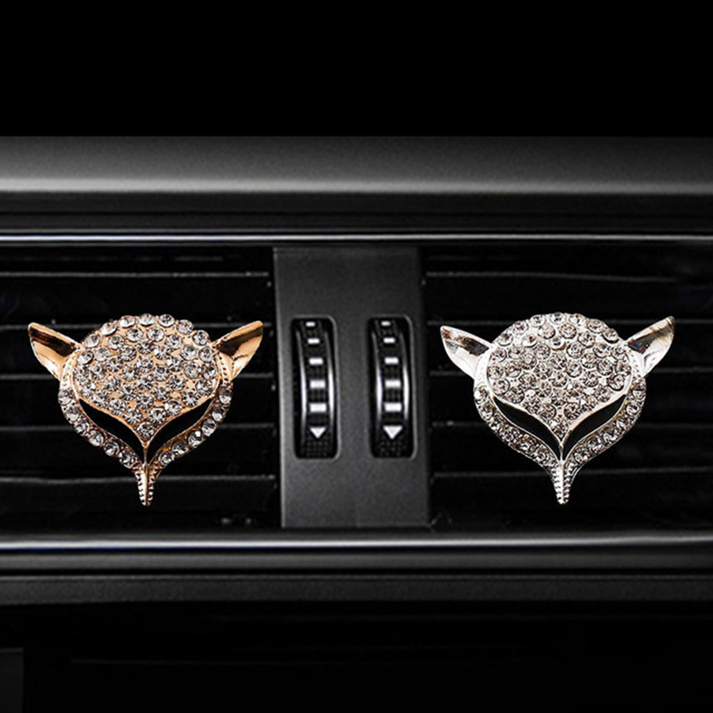 Car Ornament Fashion Crystal Diamond Fox Auto Air Conditioner Outlet Decoration Perfume Clip Air Freshener Car Fragrance Gifts