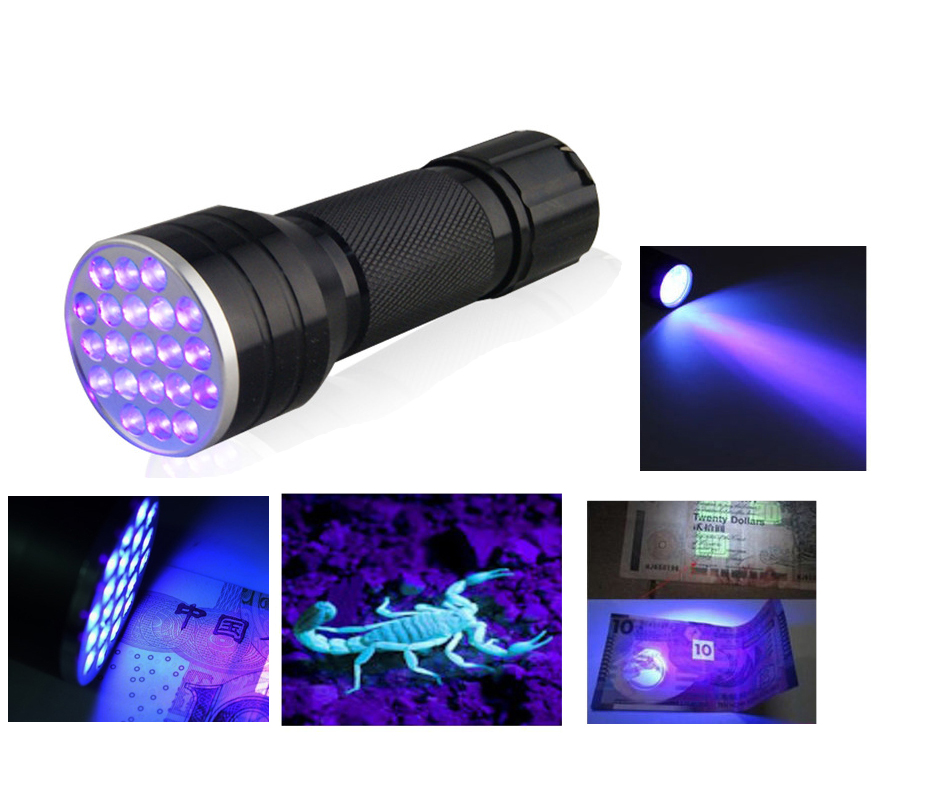 Anjoet High quality 21 LED UV Light 395-400nm LED UV Flashlight torch lamp UV adhesive curing Travel safety UV detection 3 AAA