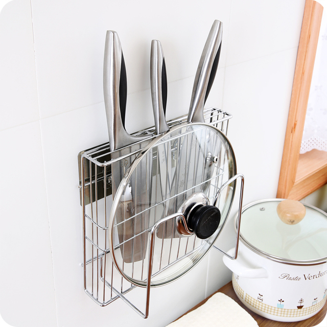 Multifunctional Seamless Pot Storage Rack Wall Mounted Shelf Kitchen Tool  Holder