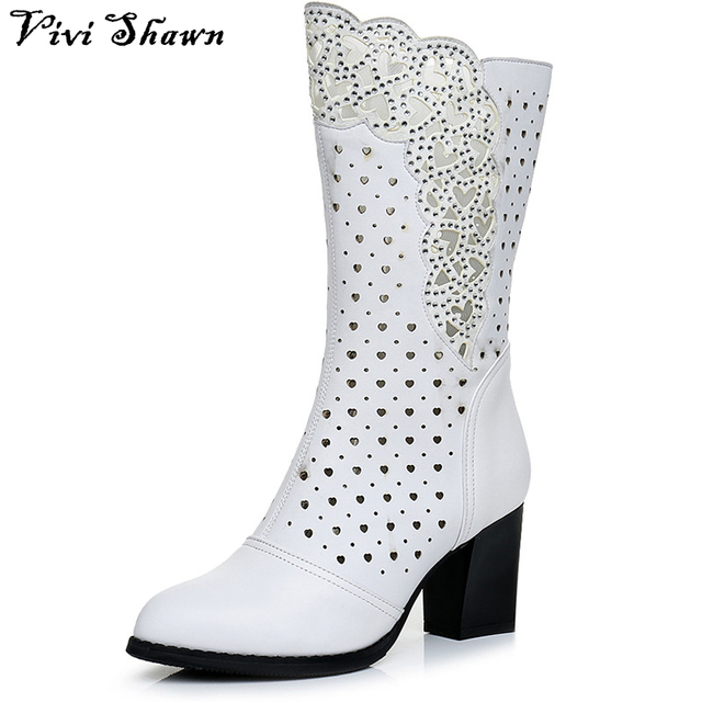 a6053f4689e Vivi Shawn 2017 Spring Genuine Leather Women Boots Square High Heel Side  Zipper Summer Shoes Female High Boot Hot Sale