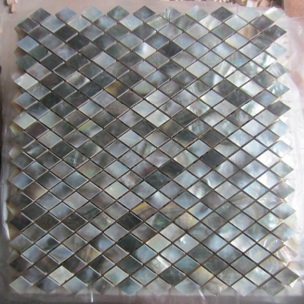 black lip shell mosaic tile on mesh with ceramic tile base backsplash bathroom tv backgroud wall mother of pearl mosaic