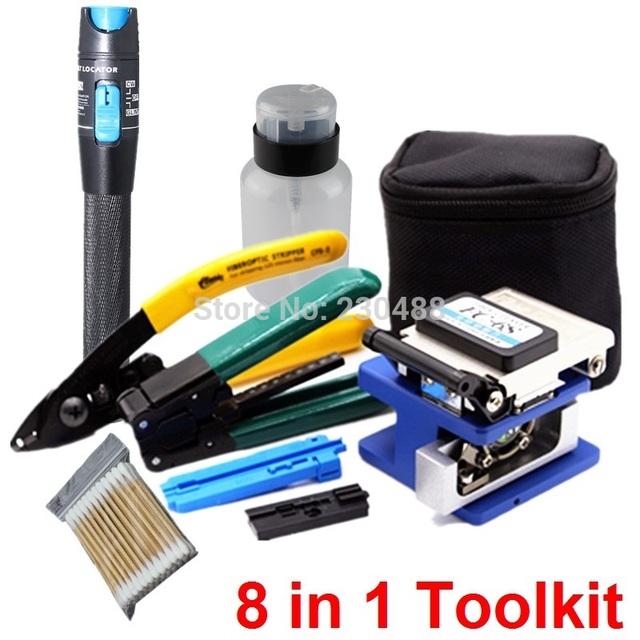 8 em 1 Kit de Ferramentas De Fibra Óptica FTTH com Laser De Fibra Óptica Pen Localizador Visual de Falhas 1 mw e FC-6S Fiber Cleaver e Fibra De Stripper