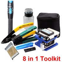8 in 1 FTTH Fiber Optic Tool Kit with FC 6S Fiber Cleaver and Red Laser Pen Visual Fault Locator 1mw and Fiber Optic Stripper