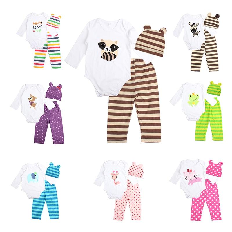 3pcs Newborn Baby Girl Clothes Long-sleeved Romper+Hat+Pants Sets Infant Animal Cartoon Winter Cotton Baby Boy Girl Clothing Set