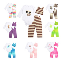 3pcs Newborn Baby Girl Clothes Long Sleeved Romper Hat Pants Sets Infant Animal Cartoon Winter Cotton