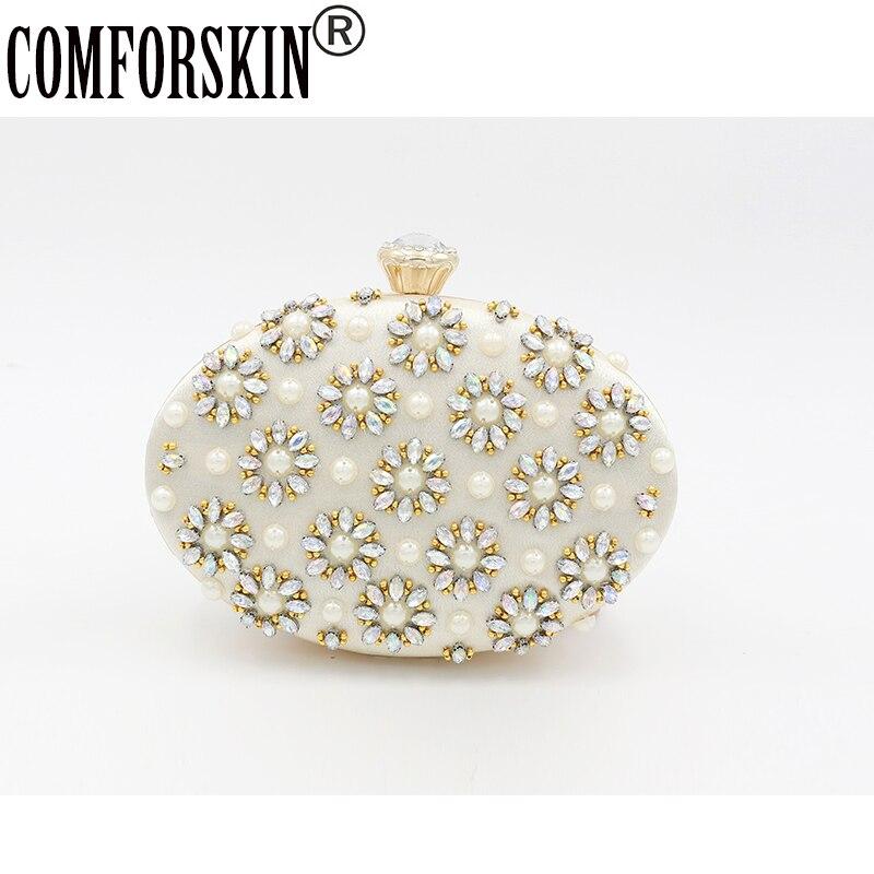 COMFORSKIN Brand Evening Bags Women Clutch 2019 Wedding Bridal Handbag Pearl Fashion Rhinestone