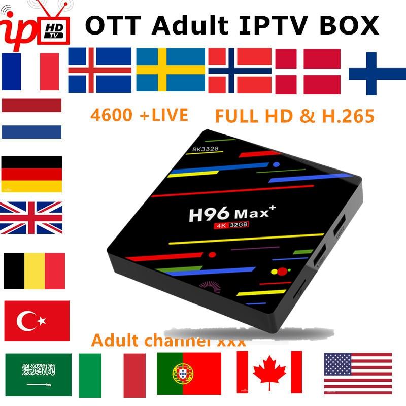 フランス IPTV ボックス H96 最大アンドロイド tv ボックス 8.1 + IPTV サブスクリプションスウェーデンベルギーヨーロッパ英国スペイン米国 M3U 大人 xxx スマート tv ボックス  グループ上の 家電製品 からの セット トップ ボックス の中 1