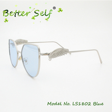 ФОТО better self ls1802 cat eye eyeglasses wing decorated temple colored lens spectacles women uv400 sun glasses eyewear sunglasses